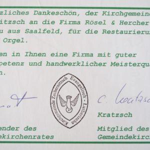 Zschernitzsch - Dank der Kirchgemeinde