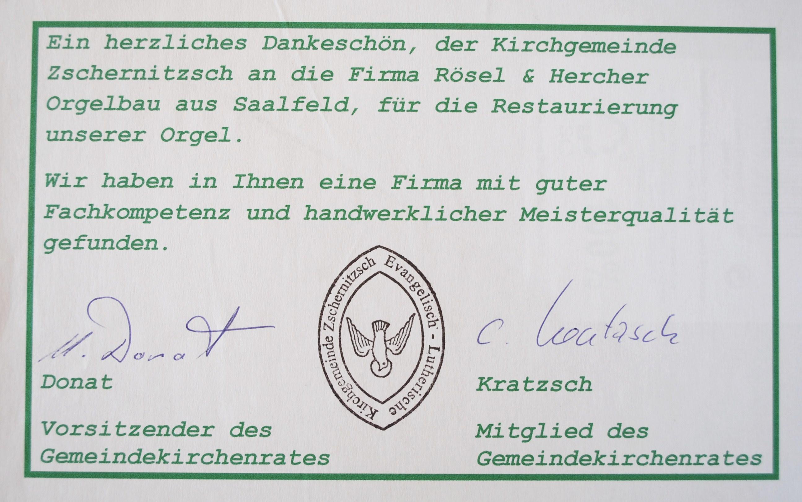 Dank der Kirchgemeinde in Zschernitzsch